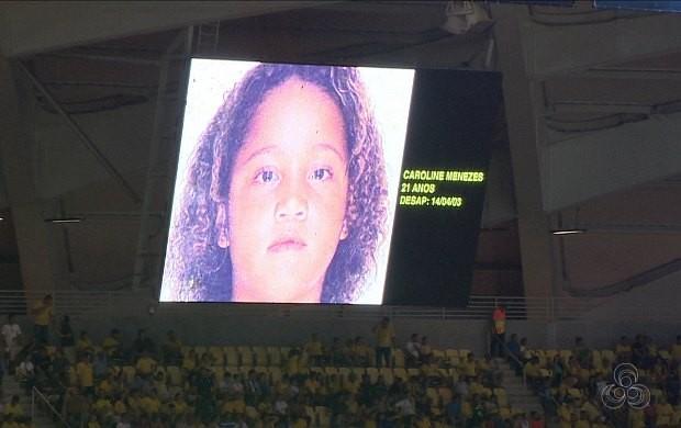No telão, rostos de 20 crianças desaparecidas foram mostrados (Foto: Rede Amazônica)
