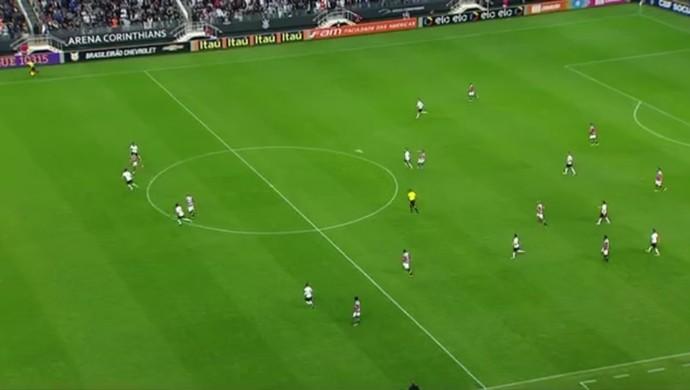 Corinthians de Cristóvão joga com a defesa adiantada. Sustos têm sido recorrentes (Foto: Reprodução/Premiere FC)