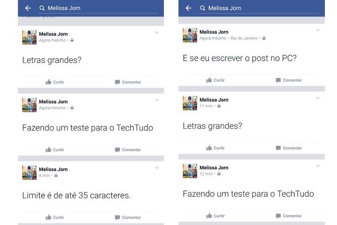 Facebook mostra posts de texto com letras maiores no celular (Foto: Reprodução/Facebook)