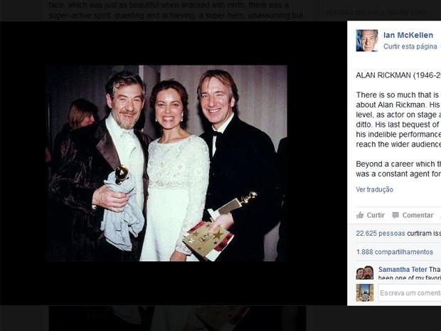 Ian McKellen faz homenagem a Alan Rickman (Foto: Reprodução/Facebook)