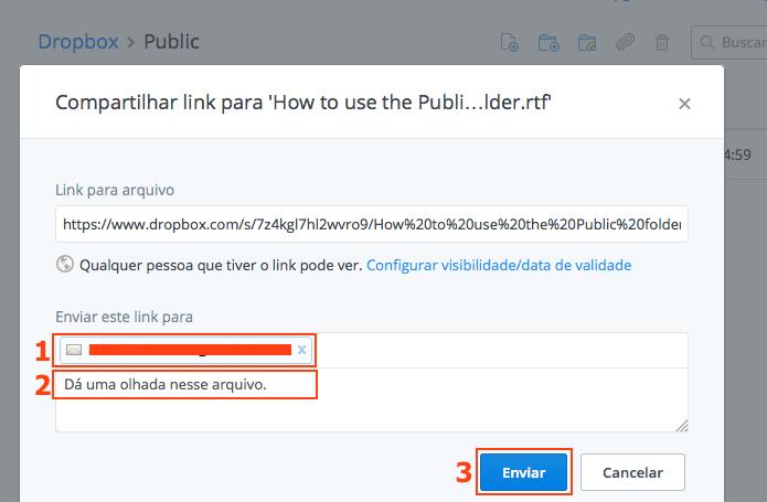 Enviando o link do documento para um contato (Foto: Reprodução/Edivaldo Brito)