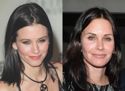 À esquerda, a atriz de 'Friends', na ocasião, estava com 35 anos. Em junho deste ano, no lançamento de um livro, Cox completou 50 anos. (Foto: Getty Images)