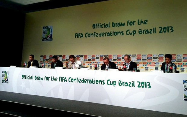 Coletiva do COL em Sao Paulo Bebeto, Ronaldo, Valkcke Confederações (Foto: Divulgação / Ministerio do Esporte)