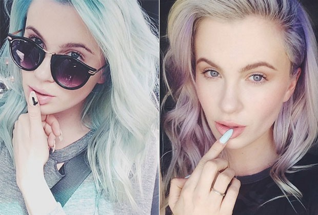Ireland Baldwin posta foto fazendo pose sexy e de cabelo azul