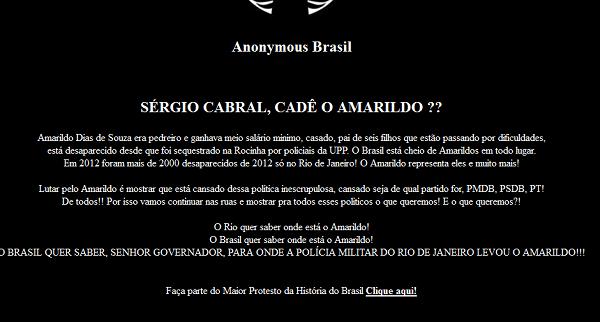 Hackers invadem site do PMDB e cobram Cabral no caso Amarildo Pmdb