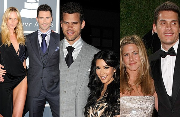 Anne Vyalitsyna e Adam Levine, Kris Humphries e Kim Kardashian, Jennifer Aniston e John Mayer (Foto: Getty Images)