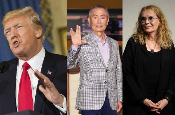 Donald Trump, George Takei e Mia Farrow (Foto: Getty Images)