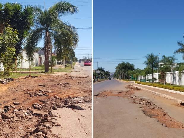 Buracos tomaram conta de ruas e ficam em frente a condomínios residenciais  (Foto: Luciana Amaral/G1)