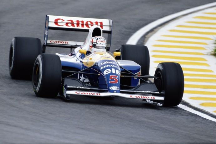 Nigel Mansell em ação com a Williams no GP do Brasil de 1991 (Foto: Divulgação)