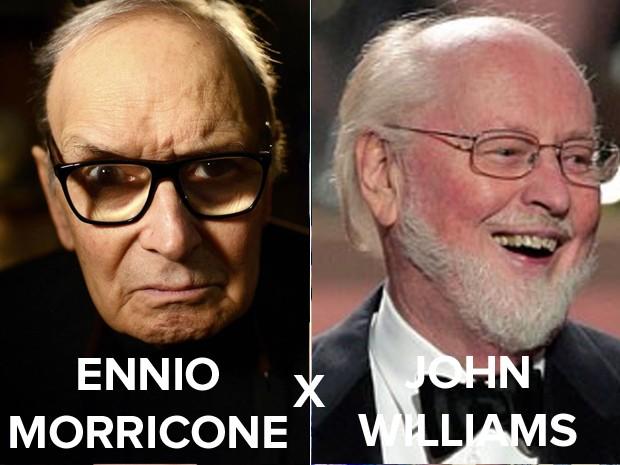 Ennio Morricone e John Williams (Foto: Reuters e Reprodução / GloboNews)