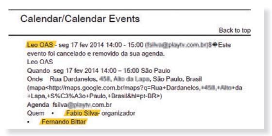 Registro de agendamento de reunião entre Lulinha e Léo Pinheiro (Foto: Reprodução)