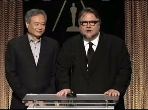 Os diretores Guilhermo del Toro e Ang Lee apresentam alguns dos nomeados ao Oscar 2016. (Foto: Reprodução)