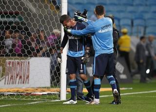 Marcelo Hrohe após a classificação nos pênaltis (Foto: Lucas Uebel / Grêmio, DVG)