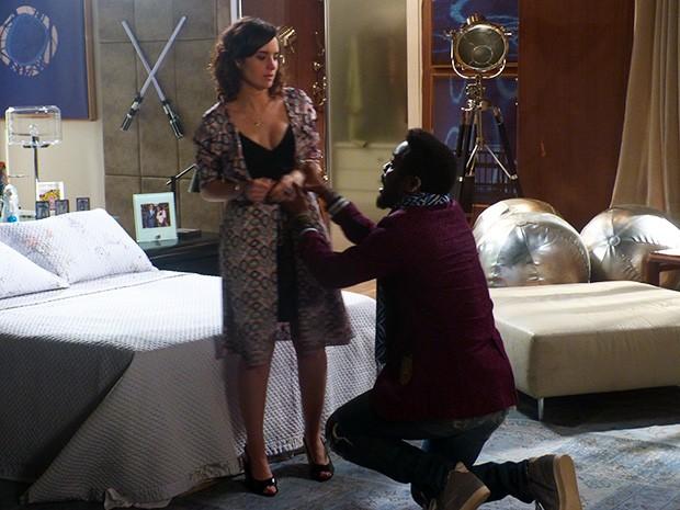 Brian implora o perdão de Lara (Foto: Geração Brasil/TV Globo)