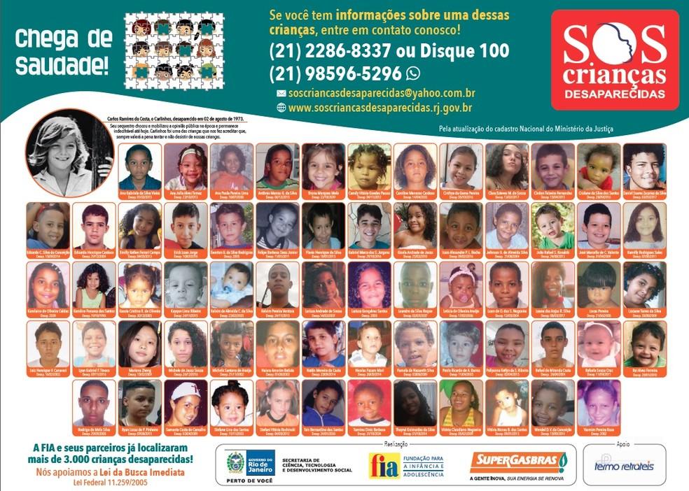 Cartaz mostra crianças desaparecidas no Rio e na Zona da Mata Mineira (Foto: Programa Chega de Saudade/Divulgação)