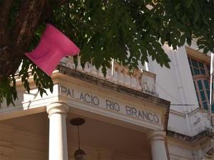 Privada é mendurada em árvore ao lado da Prefeiruta de Ribeirão (Foto: Leandro Mata/G1)