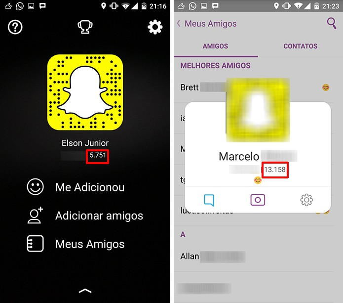 Snapchat permite que usuário compare seu desempenho na rede com amigos (Foto: Reprodução/Elson de Souza)