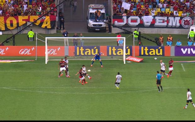 FRAME - Pênalti Flamengo e Corinthians Everton e Fagner (Foto: Sportv)