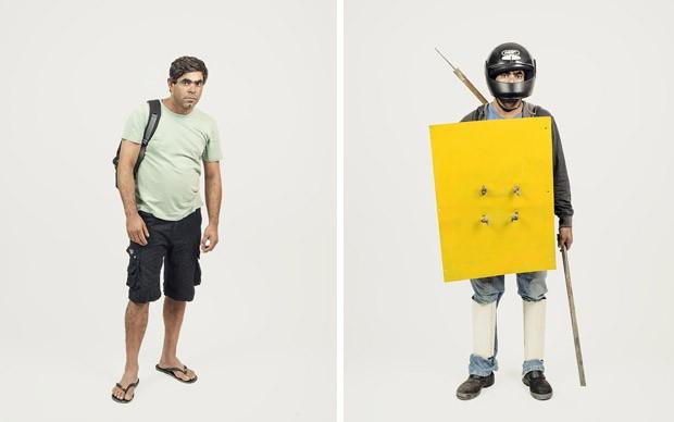 Dupla de retratos que integra o ensaio 'A Tropa de elite', de 2014. Um antigo morador do Pinheirinho posa com suas roupas comuns e vestido com armadura improvisada (Foto: Trëma/Divulgação)