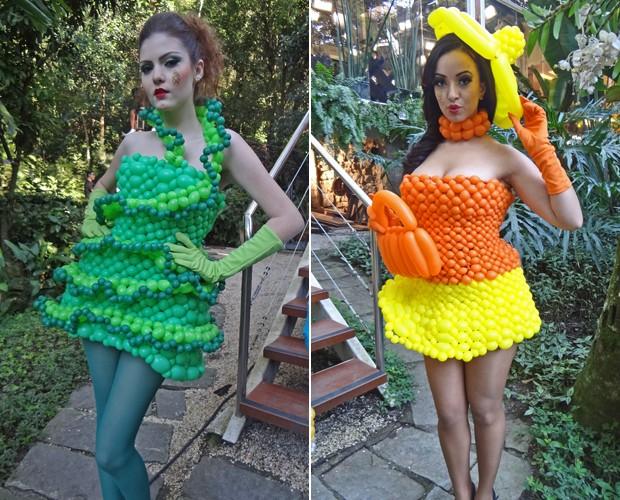 Modelos usam os vestidos de balões feitos por Fagner Campos (Foto: Mais Você / TV Globo)
