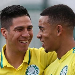 Cristaldo e Gabriel Jesus Palmeiras treino (Foto: Cesar Greco/Ag Palmeiras/Divulgação)
