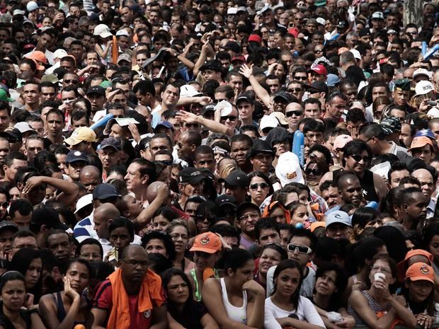 Multidão no começo da tarde no evento da Força Sindical em São Paulo. (Foto: Caio Kenji/G1)