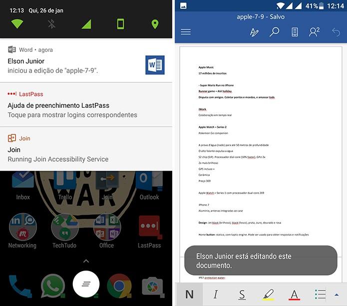 Office para Android notifica usuários quando colegas estão editando documento (Foto: Reprodução/Elson de Souza)