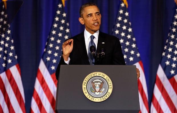 O presidente dos EUA, Barack Obama, discursa nesta quinta-feira (23) em Washington (Foto: Reuters)