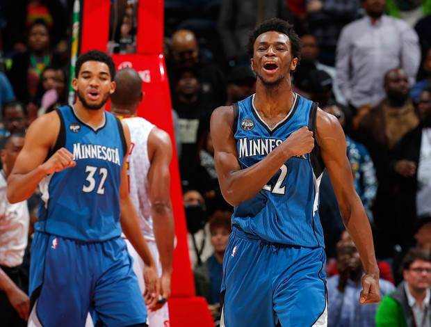 Karl-Anthony Townes e Andrew Wiggins Wolves x Hawks NBA
