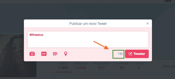 @nomedeusuario não vai mais contar no limite de 140 caracteres do Twitter (Foto: Reprodução/Melissa Cruz)