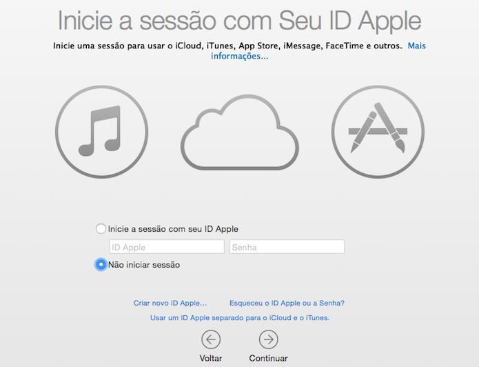 Faça login usando o seu Apple ID (Foto: Reprodução/Helito Bijora)
