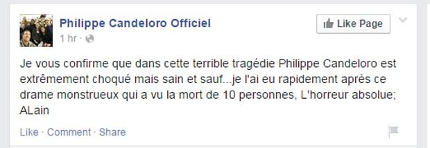 """Philippe Candeloro está ileso"", diz (Foto: Reprodução/Facebook/Philippe Candeloro Officiel)"