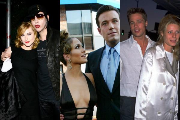 Marilyn Manson e Evan Rachel Wood, Jennifer Lopez e Ben Affleck, Brad Pitt e Gwyneth Paltrow (Foto: Getty Images)