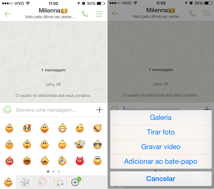 No ICQ Mobile é possível enviar emoticons, fotos, gravar vídeo e adicionar amigo ao bate-papo (Foto: Reprodução/Aline Jesus)
