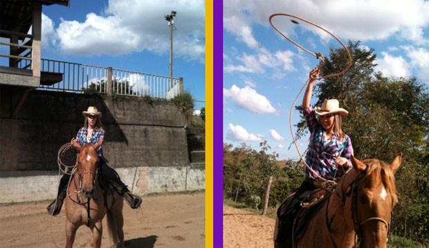 À cavalo, Kelly Maria se aventura no Laço de Bezerro (Foto: Kelly Maria/ TV Vanguarda)