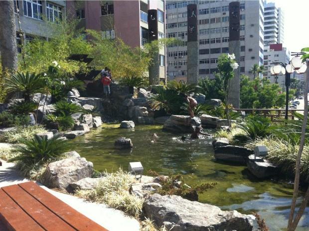 Crianças tomam banho em lago do Jardim Japonês, em Fortaleza (Foto: Fladner Cruz/Colaboração)