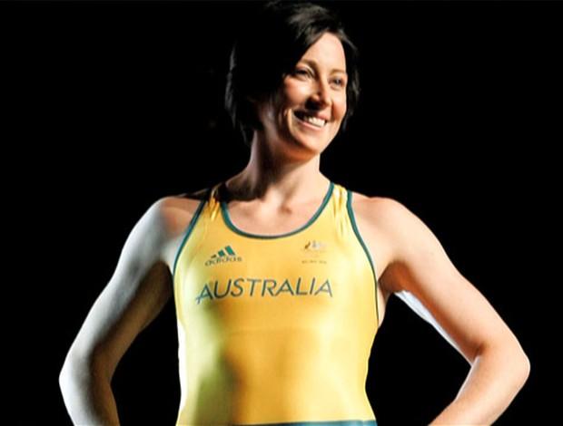 Jana Pittsman, do atletismo, após retirada das próteses de silicone (Foto: Reprodução SporTV)