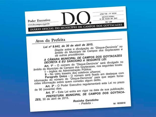 Lei foi publicada no Diário Oficial desta quinta-feira (21) (Foto: Divulgação)