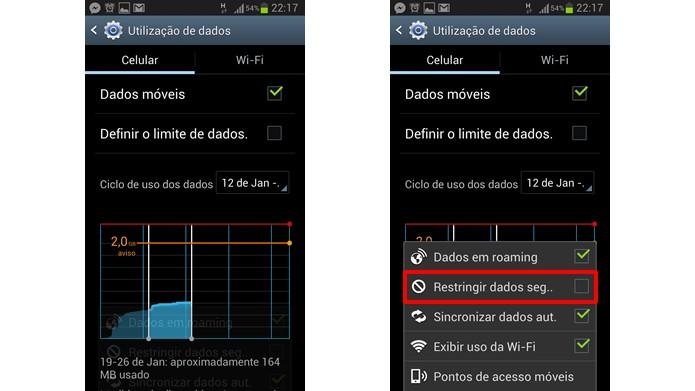 Acesse a restrição de dados em segundo plano nas configurações da utilização de dados (Foto: Reprodução/Daniel Ribeiro)