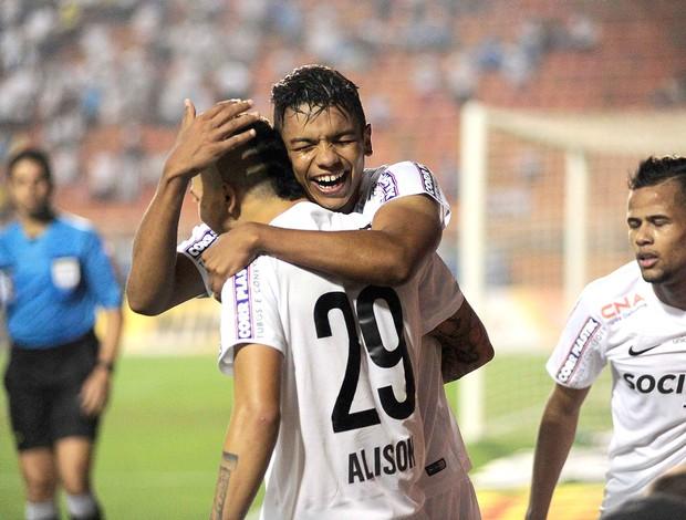 David Braz comemora gol do Santos contra o Botafogo (Foto: Marcos Ribolli)