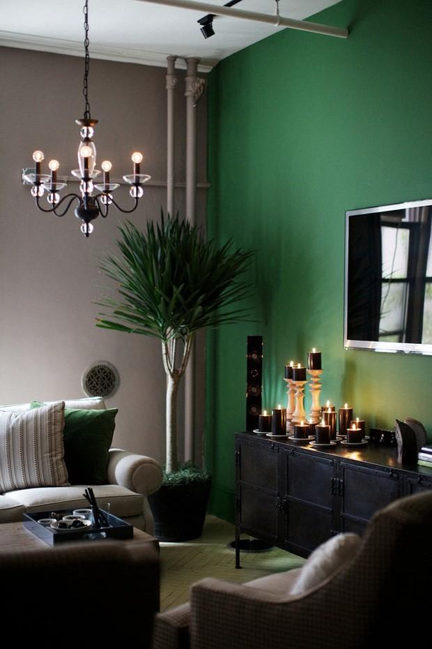 D cor do dia parede verde na sala casa vogue d cor do dia - Wandfarbe oliv ...