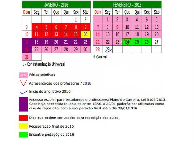 Calendário letivo de 2016 divulgado pelo GDF; aulas devem começar em 29 de fevereiro (Foto: GDF/Divulgação)