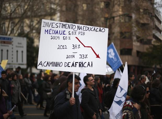 Manifestante segura placa mostrando queda do investimento em educação em relação ao PIB (Foto: Rafael Marchante/Reuters)
