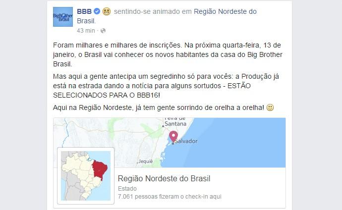 Check-in da Produção BBB16 na Região Nordeste (Foto: Reprodução da Internet)