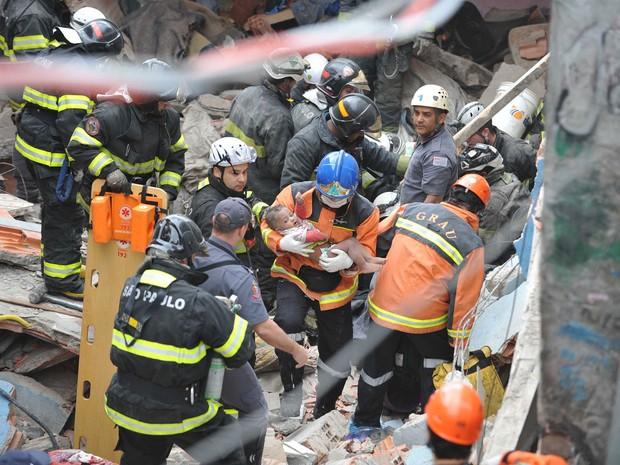 Bombeiros resgatam uma criança em meio aos escombros de uma casa. Um vazamento de gás causou uma explosão numa casa na Vila Brasilândia, Zona Norte de São Paulo. Pelo menos três pessoas ficaram feridas. (Foto: Adriano Lima/Brazil Photo Press/Estadão Conteúdo)