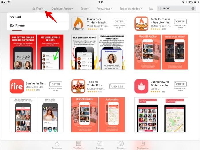 Selecione os resultados para iPhone (Foto: Reprodução/Helito Bijora)