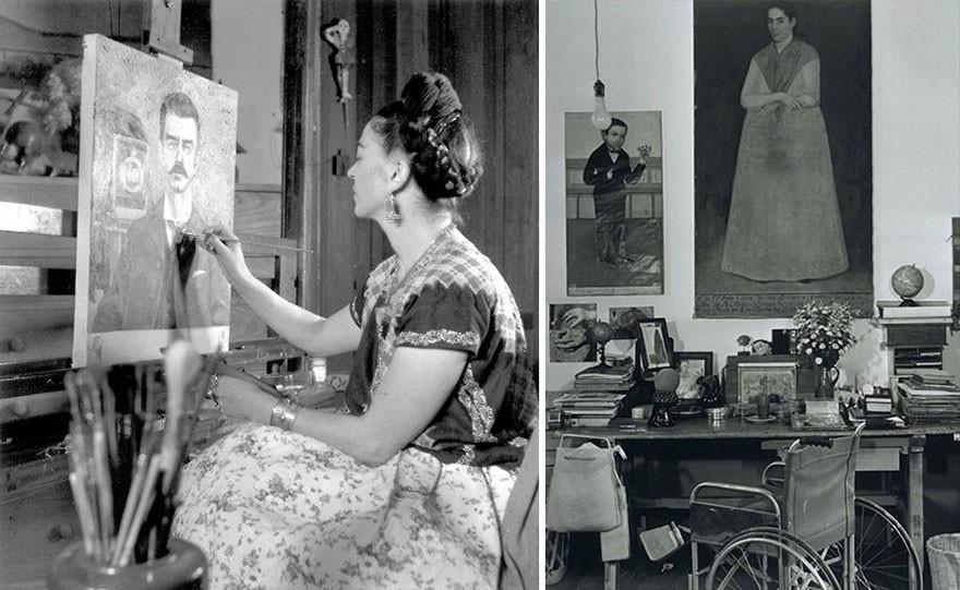 Frida Kahlo pintando em seu estúdio. (Foto: Reprodução)