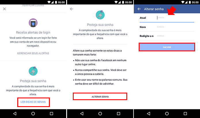 Veja dicas e altere sua senha diretamente pelo app (Foto: Reprodução/Paulo Alves)