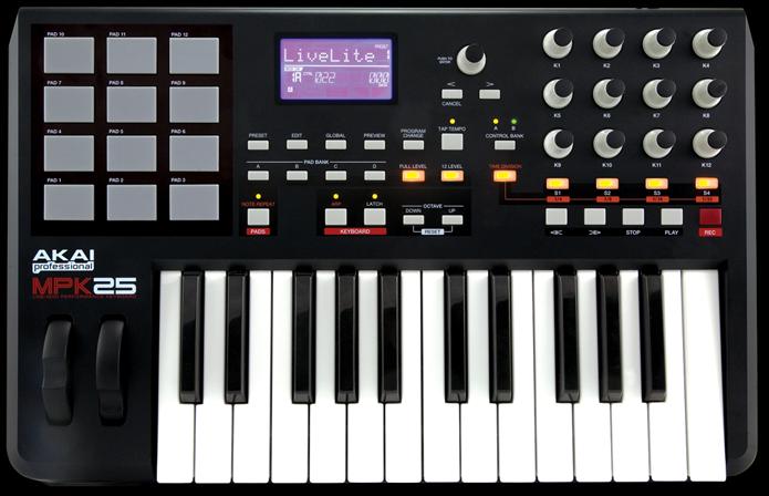 O AKAI MPK 25 é um exemplo de controlador com diversos meios de controle diferentes (Foto:Reprodução/akaipro)