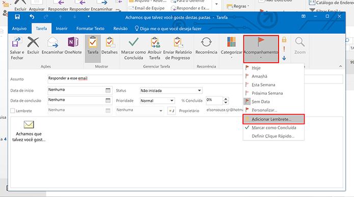 Clique em acompanhamento para criar lembrete de e-mails IMAP no Outlook (Foto: Reprodução/Elson de Souza)